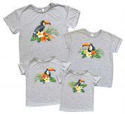 "набор из 4х футболок с принтами ""Туканы"""
