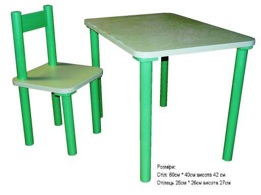 2+1 стула и стол (зеленый)