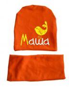 """Трикотажный набор шапка + снуд-шарф """"Именная с птичкой"""" (оранж)"""