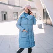 Универсальное, голубое пальто для беременных со съемными вставками под живот и сли нг