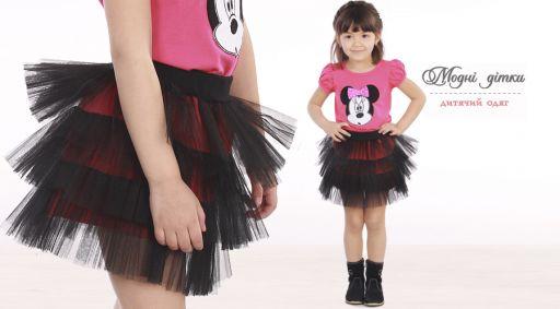 Детская юбка с фатином на х/б подкладке (черный)