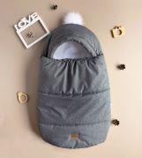 Конверт для новорожденных зимний, для детей от рождения и до 6-ти месяцев BABY (серый)