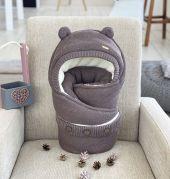 Зимний конверт для новорожденных, конверт-одеяло 2в1 вязанный, Мишка (коричневый)
