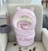"""Зимний вязаный конверт одеяло """"Мишка"""" (розовый)"""