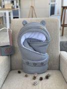 """Вязаный конверт одеяло зима с капюшоном """"Мишка"""" (серый)"""