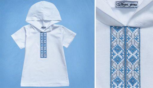 Худи вышиванка с коротким рукавом (голубая)