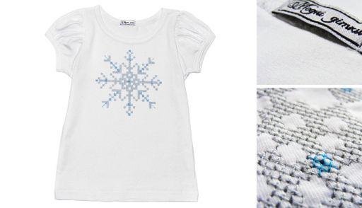"""Детская футболка с вышивкой """"Снежинка"""""""