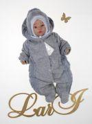 """Велюровый комбинезон для новорожденных """"Умка"""" с вязаными вставками (серый)"""