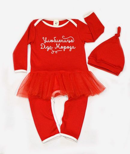 "Новогодний костюм с фатиновой юбочкой для малышки ""Улюблениця Діда Мороза"""