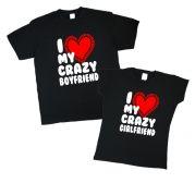 """Футболки для парочки """"I love ma crazy boyfriend & girlfriend"""""""