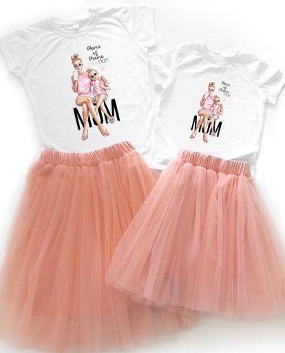 """Праздничный набор Family look для мамы и дочки """"MOM"""""""