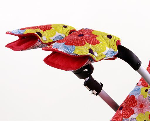 Муфта с цветочным узором для рук на коляску и санки ЦВЕТЫ