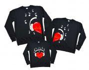 """3 семейных свитшота для родителей и ребенка """"Сердца в наушниках"""""""