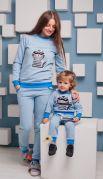 Костюм утепленный начесом для мамы и ребенка Котэ (голубой)