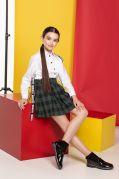 Школьная юбка со складками для девочек (зелёная клетка)