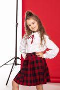 Детская юбка шотландка в школу натуральная ткань (красная клетка)