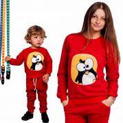 Спортивные трикотажные костюмы для мамы и ребенка Пингвин (красный)