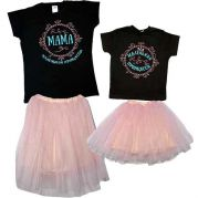Фатиновые юбки и футболки в стиле Family look (персик)