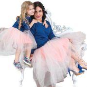 Одинаковые юбки для мамы и дочки (персик)