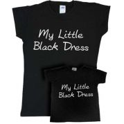 "Футболки Family look для мамы и дочки ""My little Black dress"""