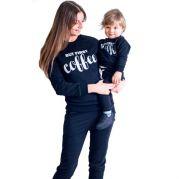 Трикотажный костюм для мамы и ее чада CoffeeMilk (черный)