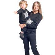Костюм Family look с начесом Звезда (черный)