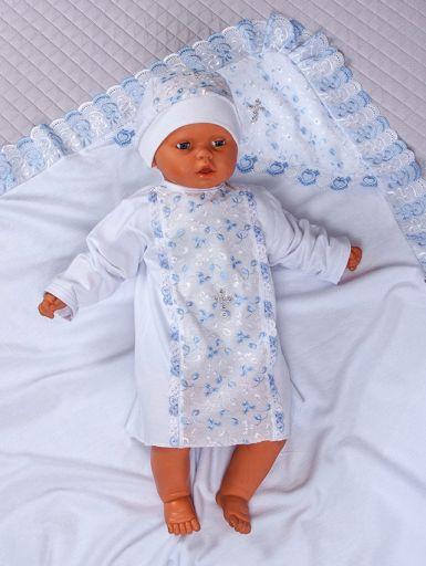 """Летний набор для проведения обряда крещения новорожденных """"Ангел"""" (белый с голубым)"""