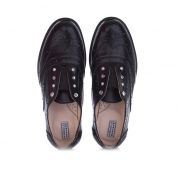 Детские классические туфли броги для девочки (черный)