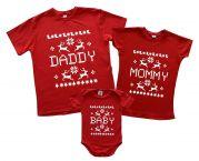 """Футболки для мамы, папы и малыша с новогодним орнаментом """"Олени"""""""