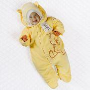 """Утепленный велюровый комбинезон для малышей """"Мишка"""" (желтый)"""