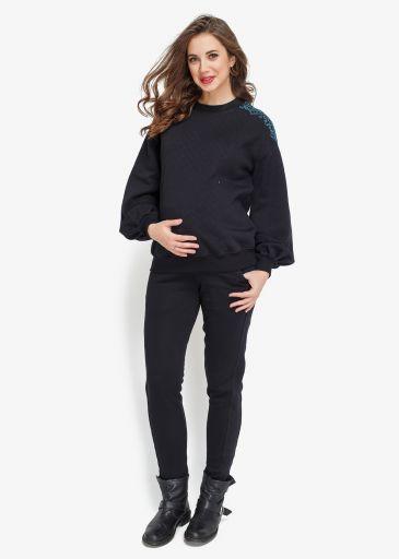 Оригинальный теплый костюм для беременных NOMI + кормление (черный)