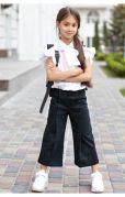 Школьные брюки кюлоты для девочки с резинкой на поясе (синий)
