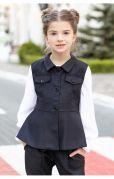 Детский школьный жилет жакет для девочек (синий)