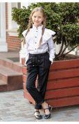 Школьные брюки для девочек с поясом на резинке (черный)