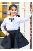 Детская школьная юбка с карманами (синий)