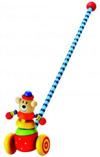 Деревянная каталка с длинной ручкой (медведь)