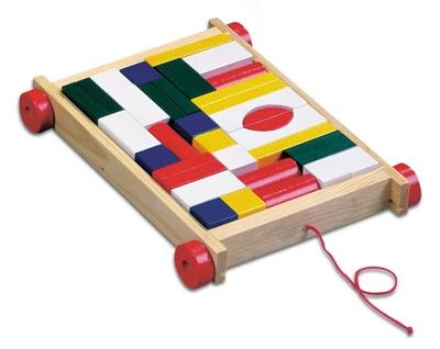 Детские деревянные кубики конструктор на колесиках