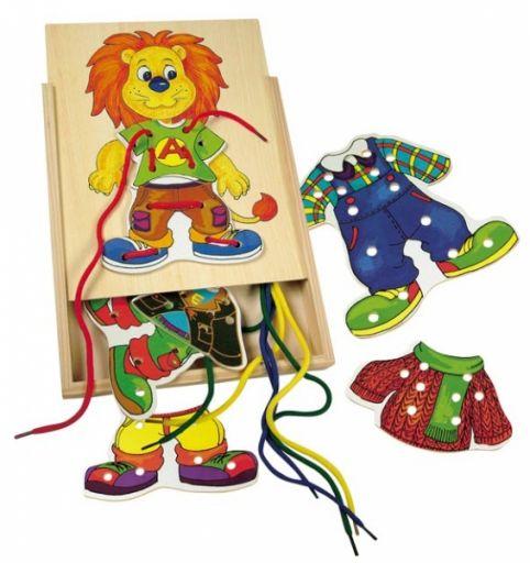 Детская деревянная шнуровка ЛЬВЕНОК