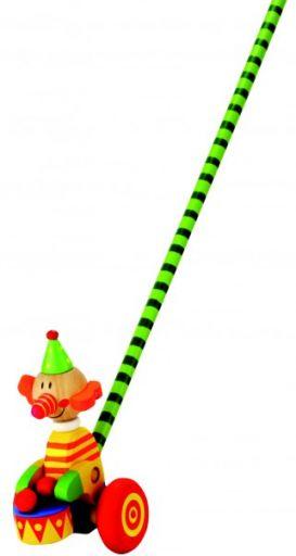 Деревянная каталка с длинной ручкой (клоун)