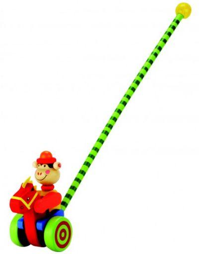 Деревянная каталка с длинной ручкой (обезьянка)