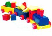 Деревянный паровоз с кубиками (цветной)