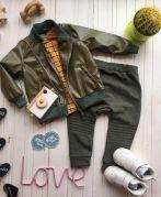 Демисезонная детская куртка из эко кожи (хаки)