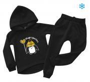 """Детский теплый костюм с именем под заказ """"Пингвин с сердечком"""""""