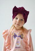 Детская трикотажная шапочка тюрбан для девочек (марсала)