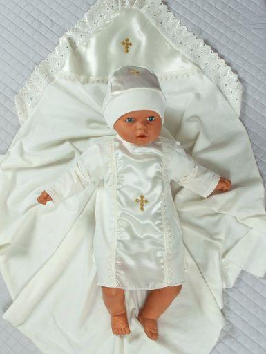 """Нежный комплект из трёх предметов для проведения крестильного обряда """"Ангел"""" (кремовый)"""
