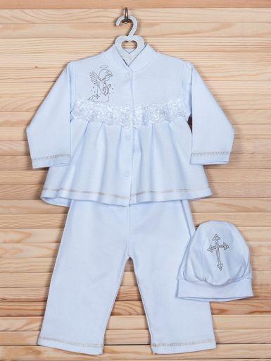 """Девчоночьи рубаха с шапочкой и штанишками для крещения """"Ангелина"""" (белый)"""