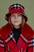 Шляпа-панама шерсть красная клетка