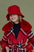 Шляпа-панама эко-кожа красная