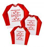 "Набор регланов для молодой семьи ""Daddy Mommy Baby новогодний узор"""