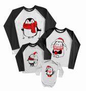 """Регланы набором с новогодними рисунками """"Пингвины нарисованные"""""""